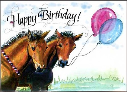happy birthday card young horse