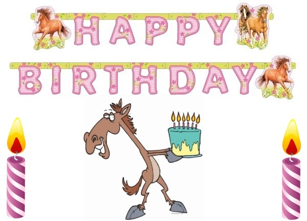 happy birthday horse card with candles