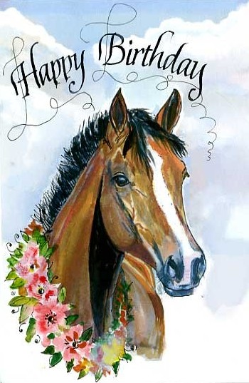 Carte anniversaire cheval happy birthday