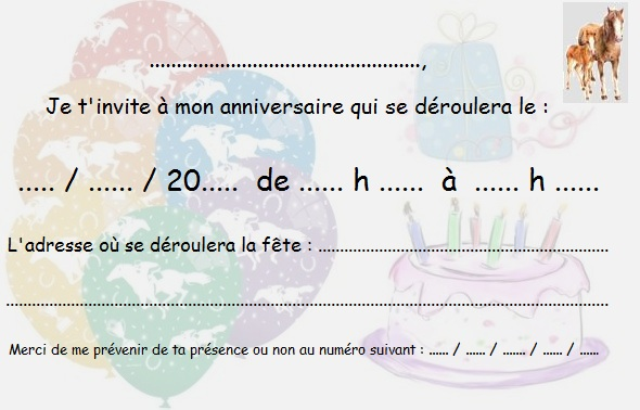 Populaire Cartes invitation anniversaire cheval - Horse invitation birthday  VE17