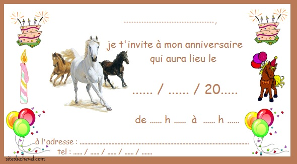 Gut bekannt Carte Anniversaire Virtuelle Cheval QZ32